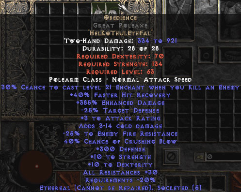 Obedience Great Poleaxe Ethereal 300 Def 30 Res Perfect